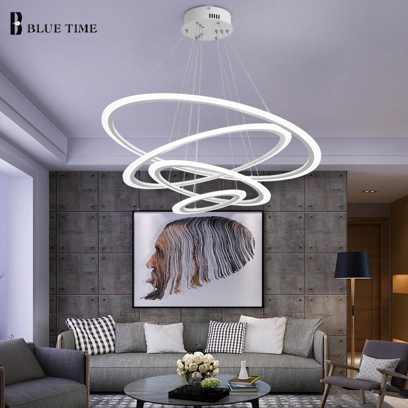 Kitchen LED Chandelier For Dining room Living room Acrylic Plafond Cirlce Rings Led Chandelier Lighting Biref Indoor Fixtures