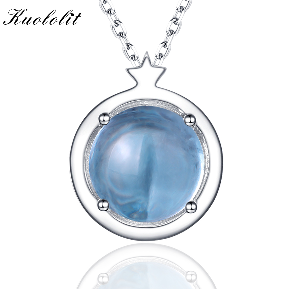 Kuololit Natural Sky Blue Topaz Gemstone Pendants For Women Star 925 Sterling Silver Jewelry Handmade Name Customize Jewelry