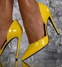 цена на Customized Yellow Patent Leather Pumps Women Shoes Low Cut Pointed Toe Stiletto Women Shoes High Heels Plus Size 10 Drop Ship