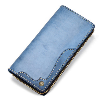 Imported Misty Wax Cow Leather Wallets Blue Bag Purses Women Men Long Clutch Vegetable Tanned Leather Wallet Card Holder