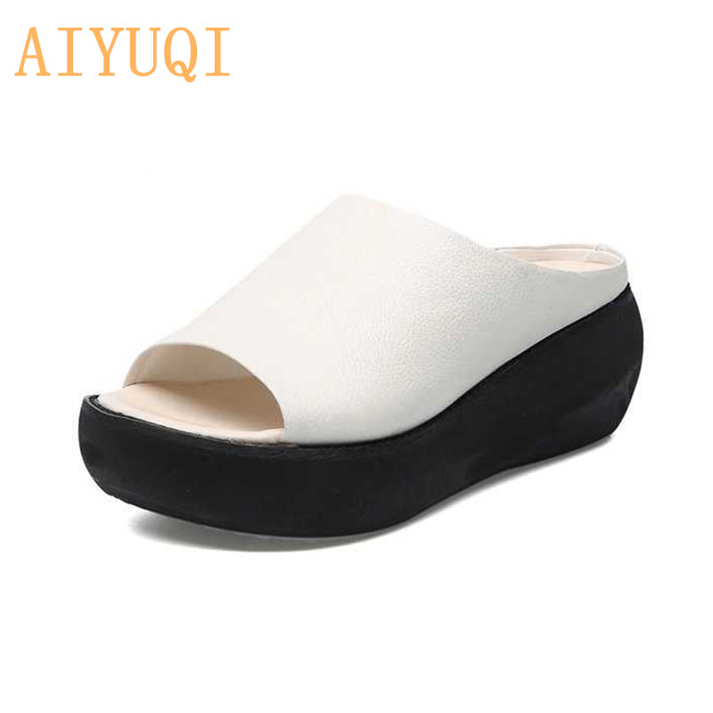 AIYUQI Platform slippers women 2019 new women sandals 100 genuine leather casual outdoor retro sandals womenAIYUQI Platform slippers women 2019 new women sandals 100 genuine leather casual outdoor retro sandals women