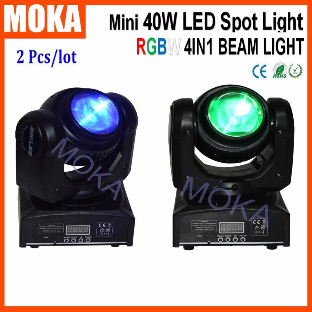 2 Pcs/lot DMX512 High Power LED 40W Mini Moving Head Beam Bar Disco Light Stage Effect LED Display RGBW 4 IN 1 Spot Light