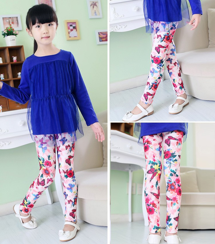 e6f515bb55858 ... girl pants new arrive printing Flower girls leggings Toddler Classic  Leggings 2-14Ybaby girls leggings ...
