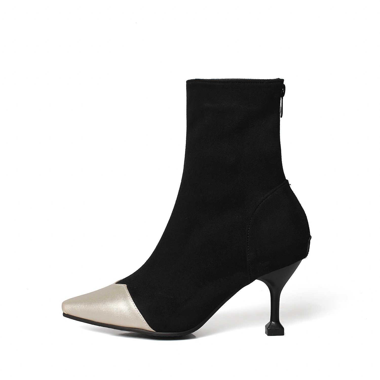 ESVEVA 2020 Kadın Botları Zarif Ince Yüksek Topuklu Ayakkabılar Patchwork Akın Sivri Burun Ayakkabı Fermuar Kış Kadın yarım çizmeler 34- 43