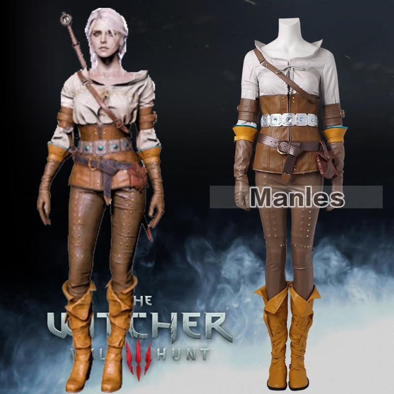 The Witcher 3 sauvage chasse Cirilla Costume Cosplay vêtements jeu Costume adulte femmes Halloween carnaval ensemble entier femme sur mesure