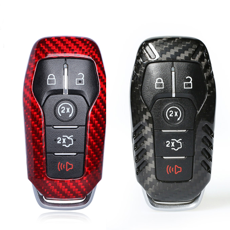 Carbon Fiber Smart Remote Key 3 5 Buttons Fob Case Shell Cover For Ford Mustang 2015