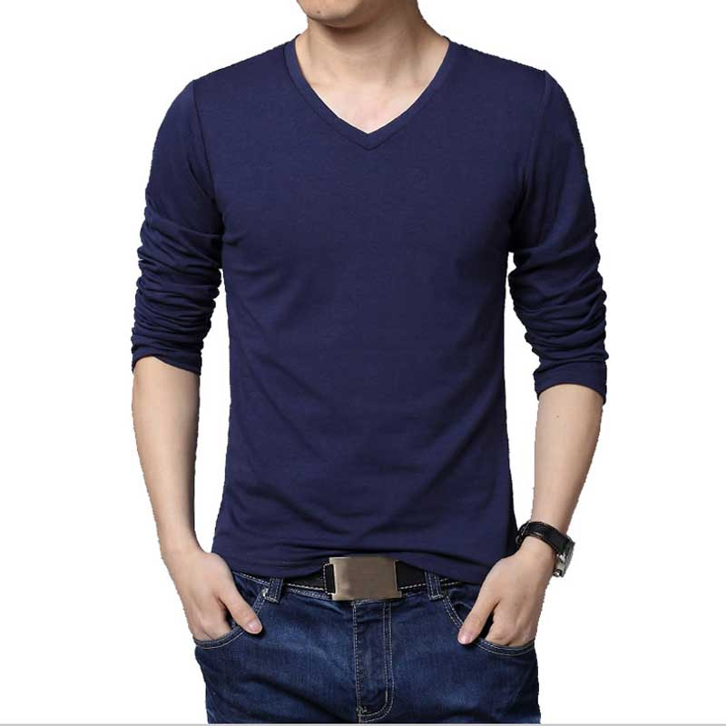 Plus size men 39 s solid bottoming shirt casual t shirt long for Plus size men shirts