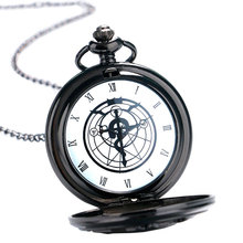 2017 Free Shipping Black Tone Fullmetal Alchemist Pocket Watch Cartoon Quartz Clock Hour Anime Boys Gift Wholesale