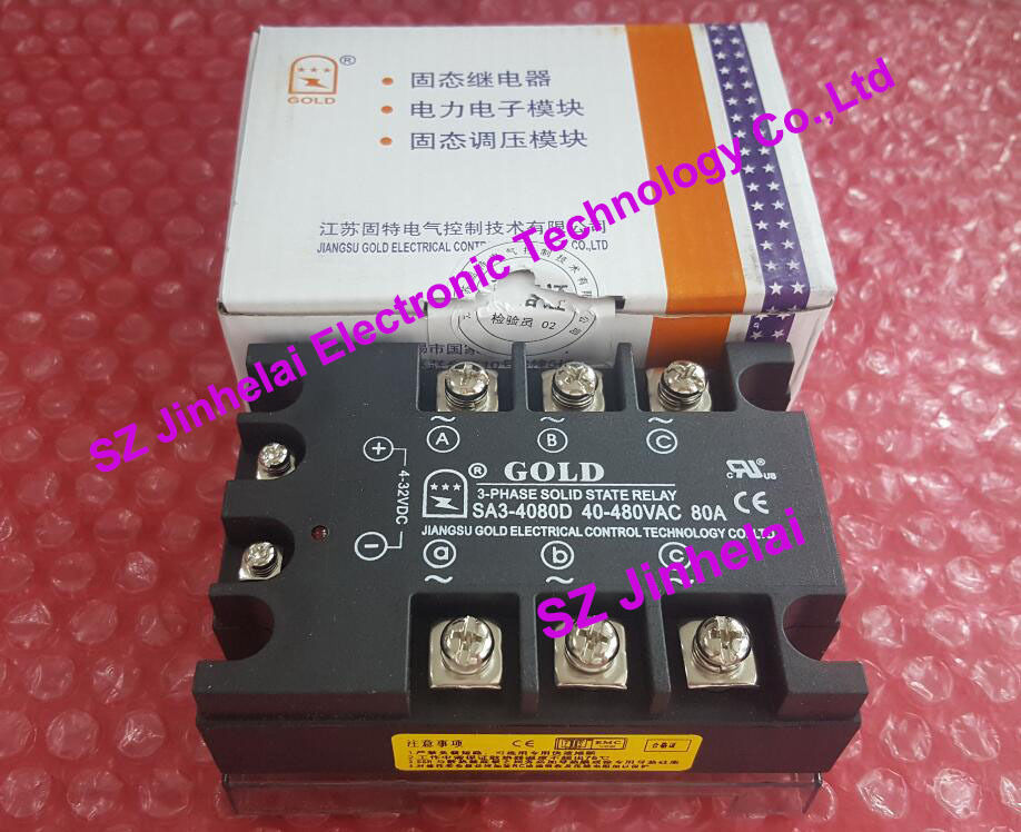 New and original SA34080D (SA3-4080D) GOLD Solid state relay SSR 480VAC 80A new and original sa34080d sa3 4080d gold solid state relay ssr 480vac 80a