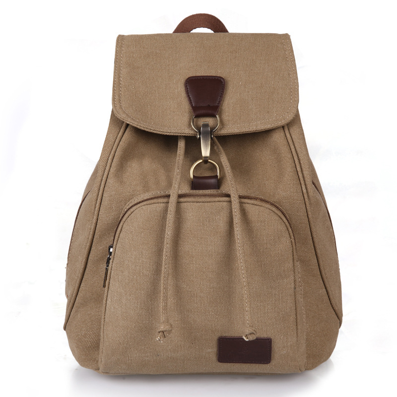 2017 New Vintage woman Canvas Backpack Unisex Fashion Lock and String Backpack all-match Travel Backpack for Teenagers