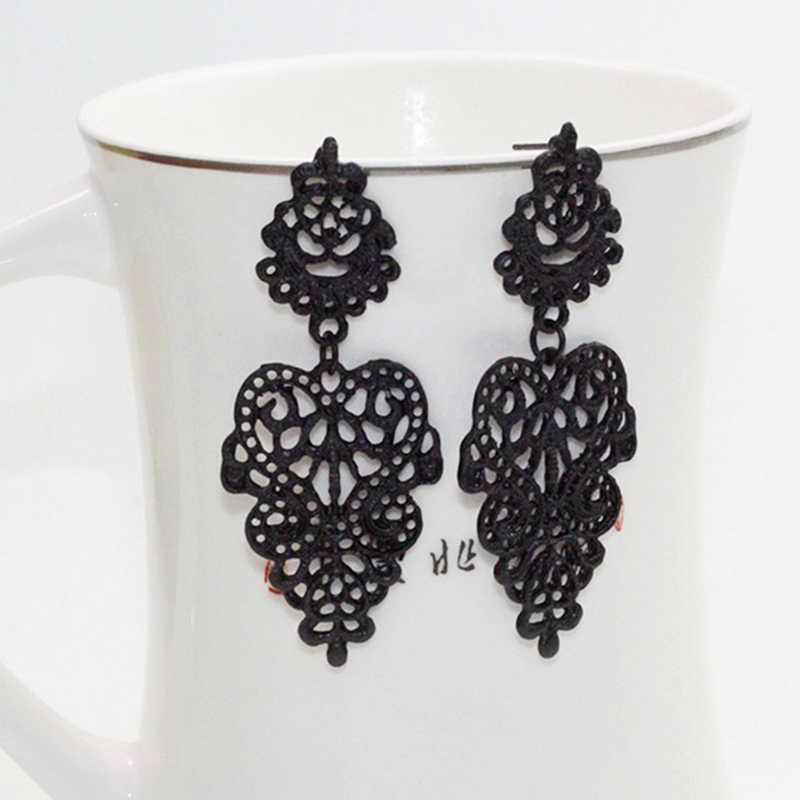 1 زوج جديد حار بيع الأزياء القرط الذهب الأسود الفضة اللون الجوف يترك بوهو نمط البرية المعلقات انخفاض الأقراط الزفاف مجوهرات
