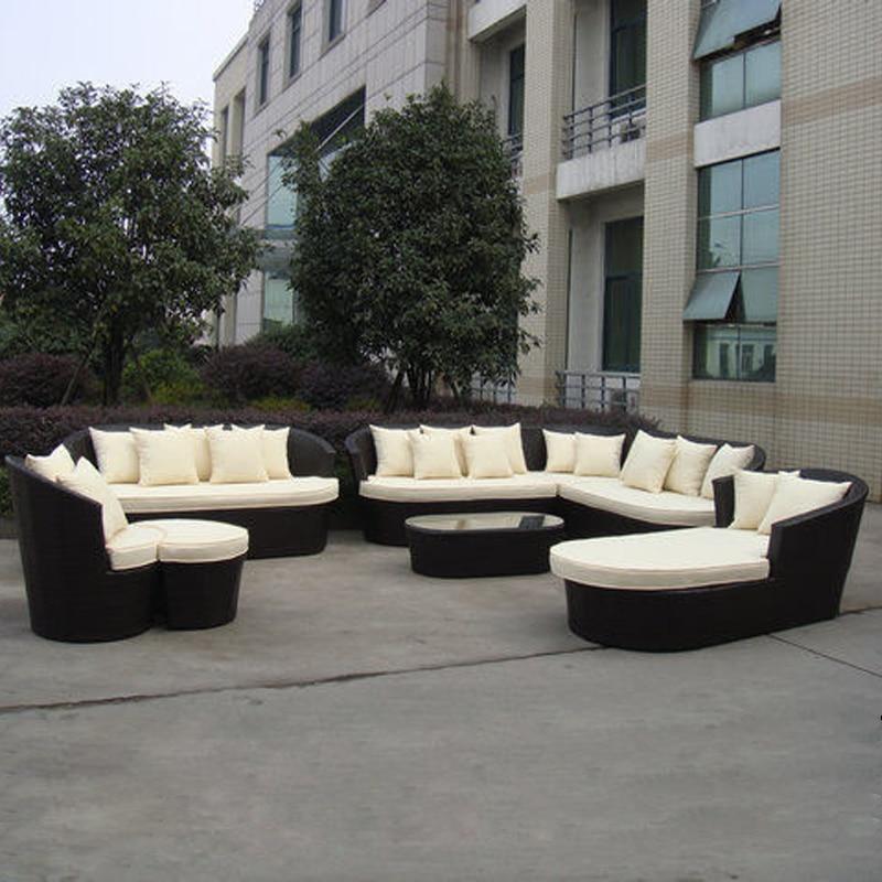 8-pcs luxury resort beach sofa furniture Pastoralism Home Indoor / Outdoor Rattan Sofa For Living Room