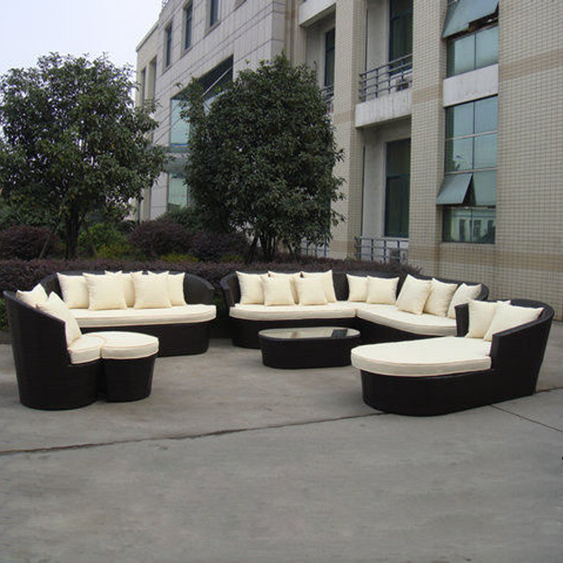 8-pcs luxury resort beach sofa furniture Pastoralism Home Indoor / Outdoor Rattan Sofa For Living Room royal orchid beach resort