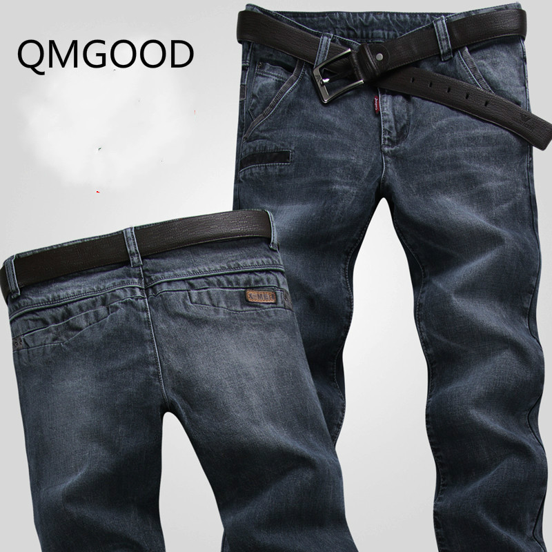QMGOOD 2017 Fashion Mens Retro Design Slim Fit Denim Jeans Men Casual Elastic Pants Brand Clothing High Quality Stretch Jeans 32 wolf printed biker jeans men high quality elastic jeans slim fit fashion brand clothing designer mens cargo pants denim overalls