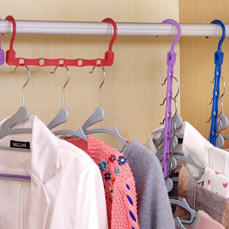 8pcs Windproof Coat Hanger Clothes Organizer Hanger Rack 5 Holes