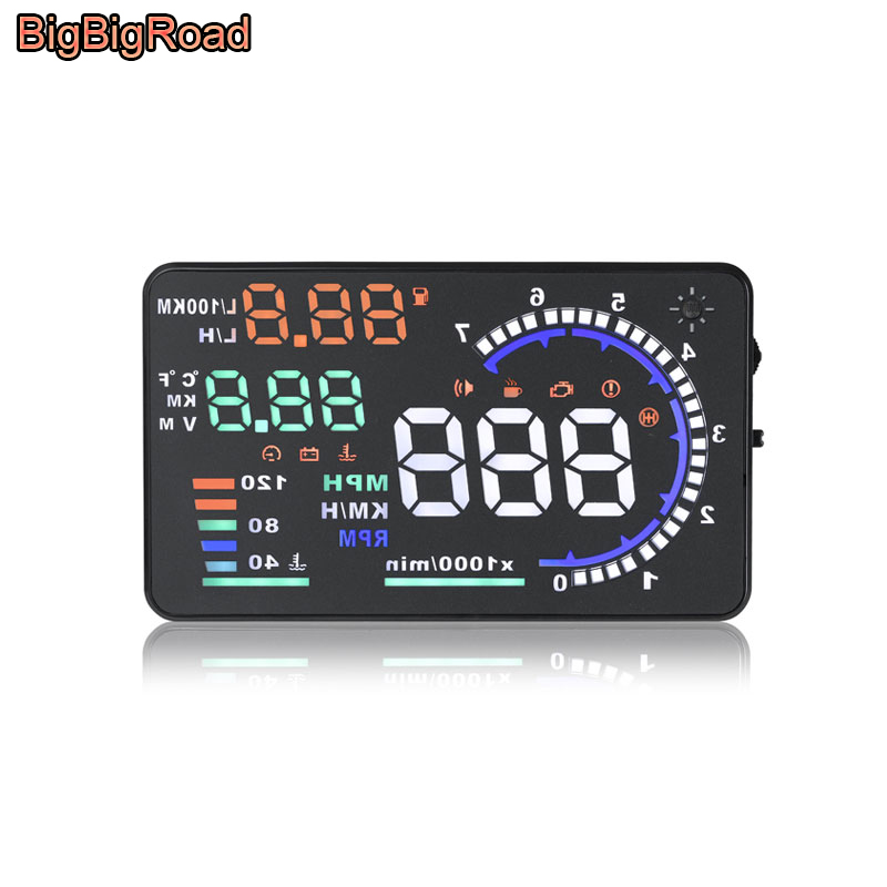 BigBigRoad Car HUD Windscreen Projector Head Up Display For Peugeot 206 207 301 307 308 407 508 607 806 807 2008 3008 OBD 2 II car styling projector led fog lights with cutting line lens xenon white 12v off road for peugeot 2008 3008 207 301 307 308 508