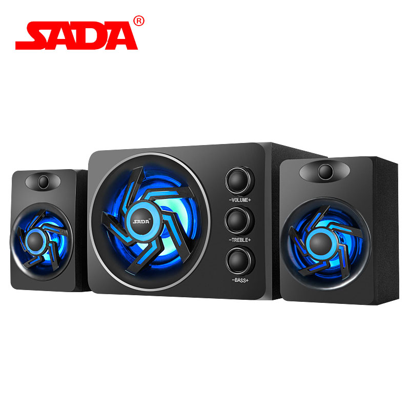 SADA D-209 High Quality Wooden Subwoofer Stereo Bass PC Phone USB 2.1 Bluetooth Wireless Computer Speaker Support TF Card U Disk