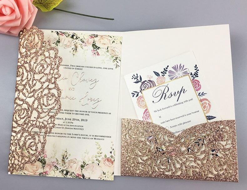 Darmowa wysyłka 50X luksusowe brokat złoty zaproszenia ślubne koperty spersonalizowane wkładki różowe do cięcia laserowego kieszonkowy fold zapraszamy w Kartki i zaproszenia od Dom i ogród na  Grupa 1