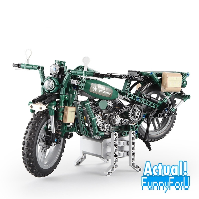 Large Technic US Army Motorcycle
