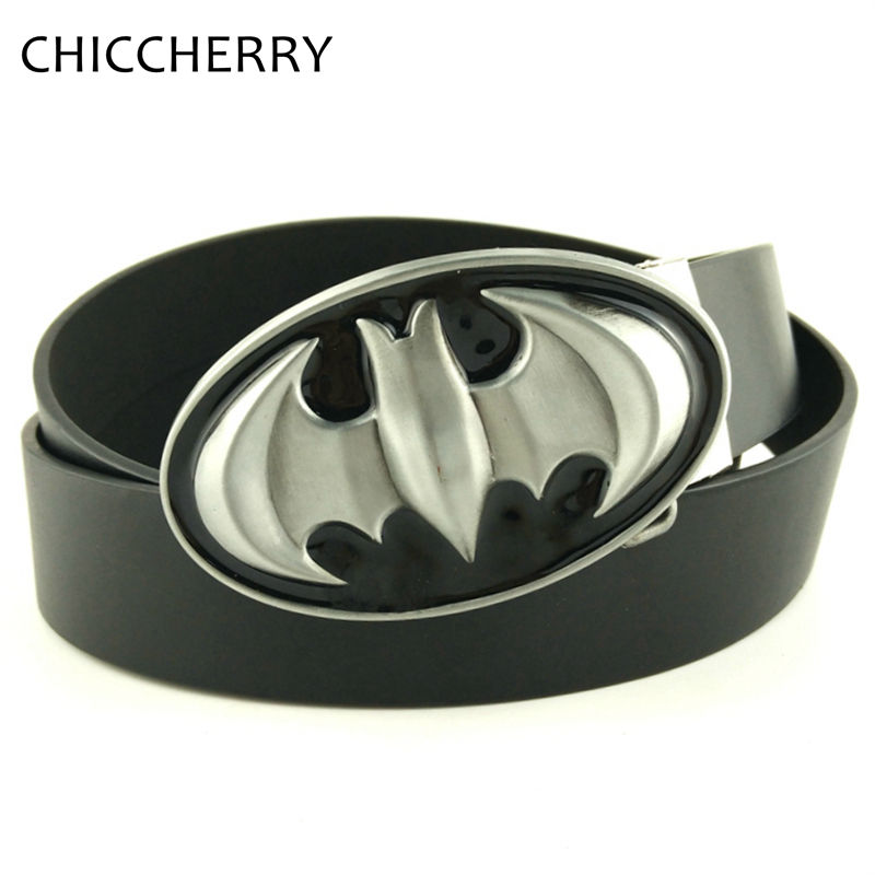New Punk SuperHero Batman Black Buckle Women Leather Mens Belt Metal Buckle Gift