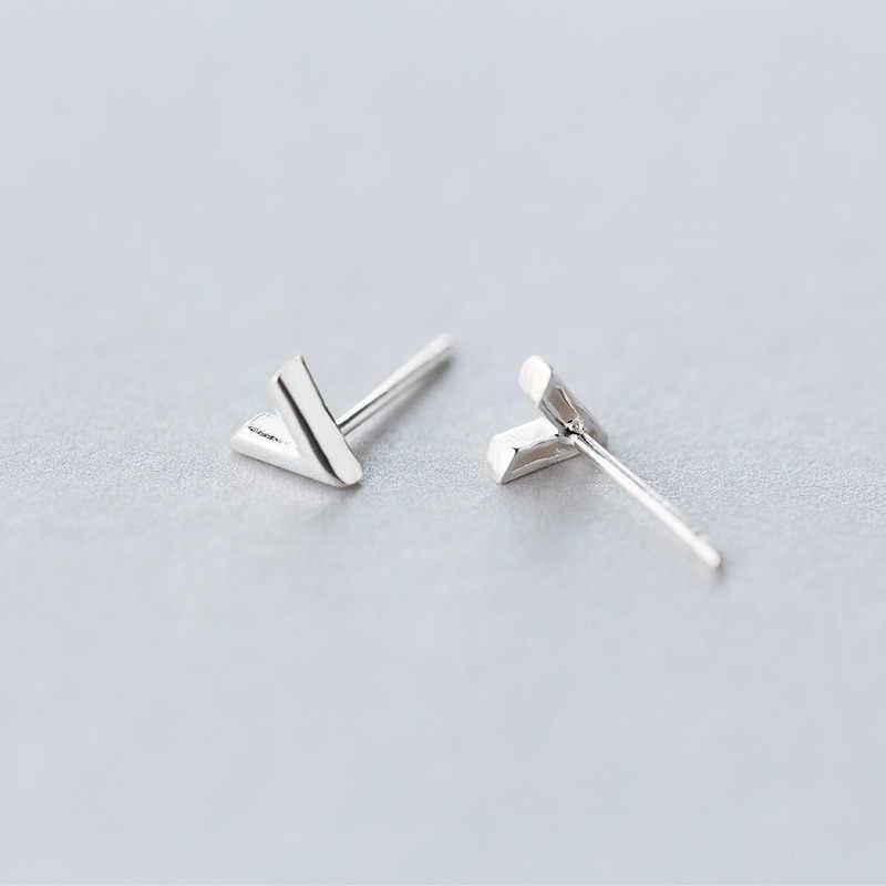 Peri'sBox 925 Prata Pequena Seta Minúsculo Brincos Do Parafuso Prisioneiro para As Mulheres de Mini V Forma Pós Brincos Geométrica Minimalista Ear Studs