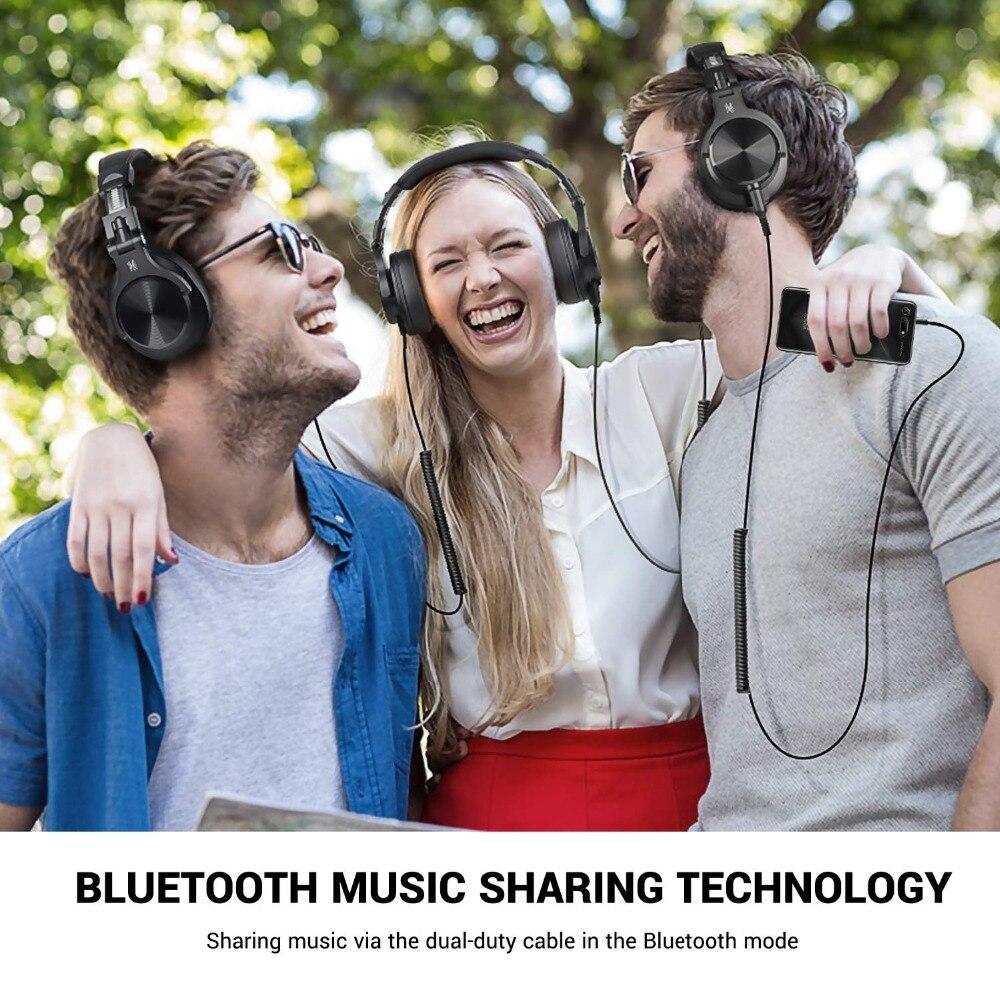 Casque d'écoute Bluetooth Fusion OneOdio, casque d'enregistrement Studio avec port partagé, moniteur professionnel filaire/sans fil - 4