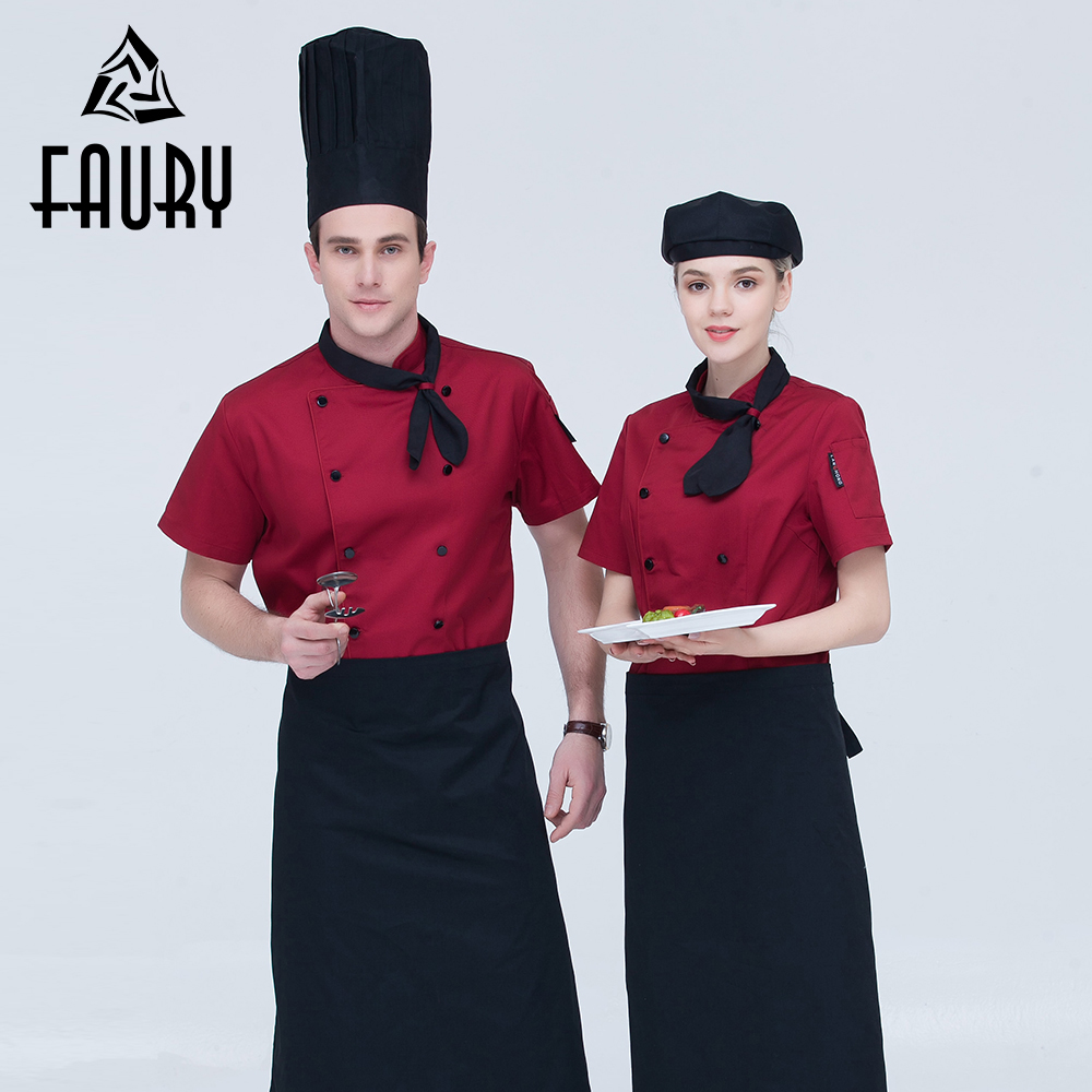 Unisex Double Breasted Short Sleeve Pocket Restaurant Chef Sushi Kitchen Cooking Catering Uniforms Work Wear Food Service Jacket