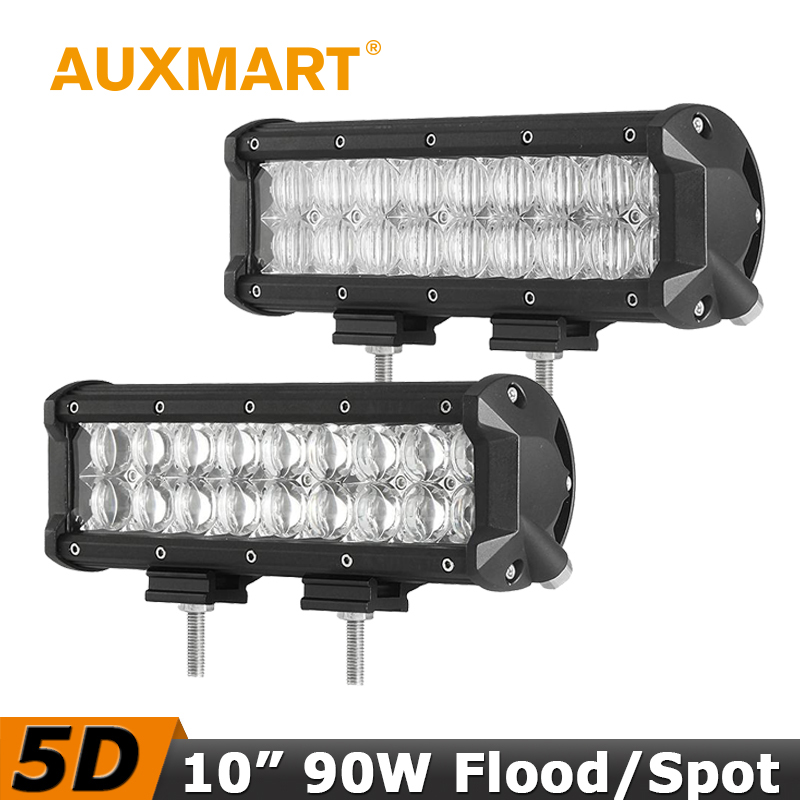 Auxmart 90W 10 CREE Chips 5D LED font b Light b font Bar Flood Spot Beam