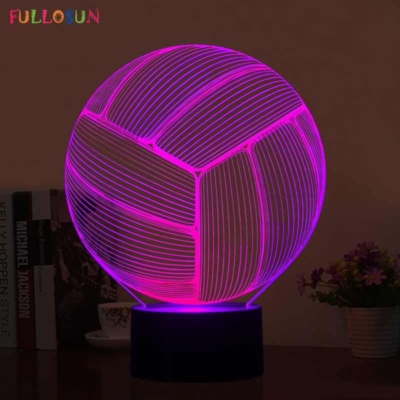 Novelty Lighting Volleyball 3D LED USB Lamp LED 3D Decorations Table Lamp LED Bedroom Colorful Night Lights 3d led lamp usb night love heart