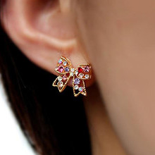 Hot 1Pair Chic Ear Studs Trendy Women Colorful Charming Golden Bowknot Earrings Jewelry Gift