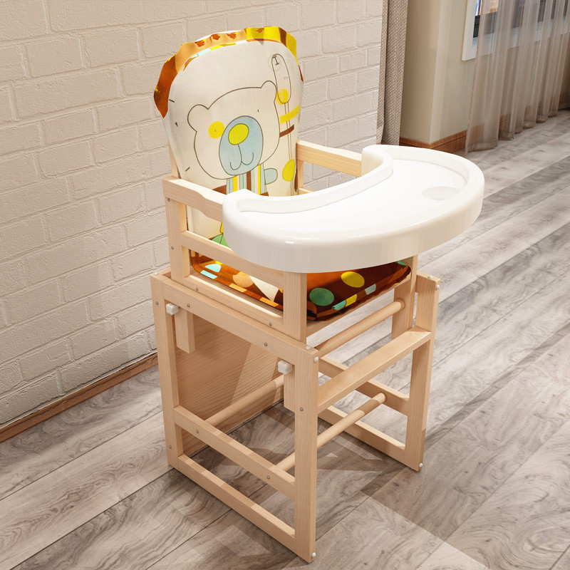 Baby Feeding Chair Kids Table And Chair Wooden Dining Chair Seat Adjustable Height Dining And Learning Chair With Cushion
