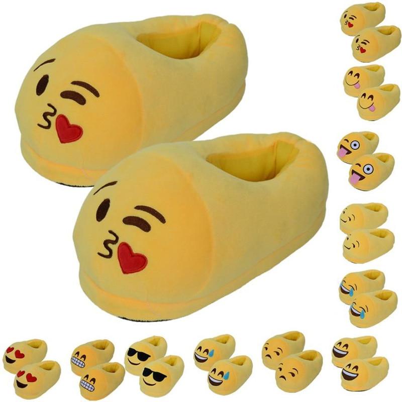 Пара подарок мультфильм Плюшевые тапки-смайлики зимние мягкие Для мужчин Для женщин Детская домашняя обувь размеры 35–44 Pantufa pantuflas