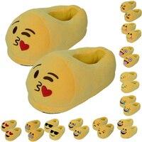 Valentine Couple Gift Cartoon Plush Emoji Slippers Winter Soft Men Women Children Indoor Home Shoes Size