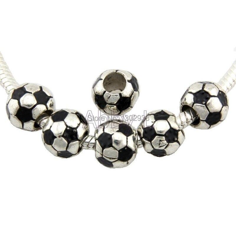 I Heart Soccer Ball Love Sports Word Dangle Charm for European Bead Bracelets