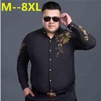 10XL 8XL 6XL 5XL 4X Floral Printed Man Casual Shirts Fashion Classic Men Dress Shirt Breathable