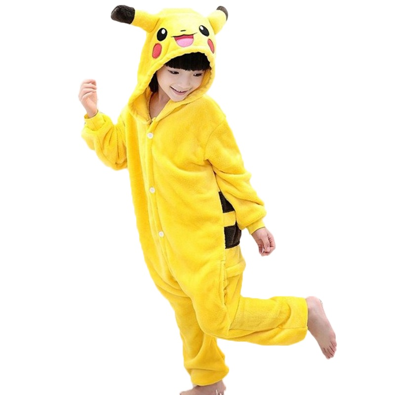 EOICIOI New Flannel pajama baby girl pajama set Pikachu Stitch cosplay Hooded christmas pijama infantil kids boys sleepwear