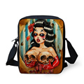 Forudesigns retro pequeño mensajero de las mujeres del cráneo impreso kid girls crossbody bag para niños lienzo mini bolso bolsos de mujer