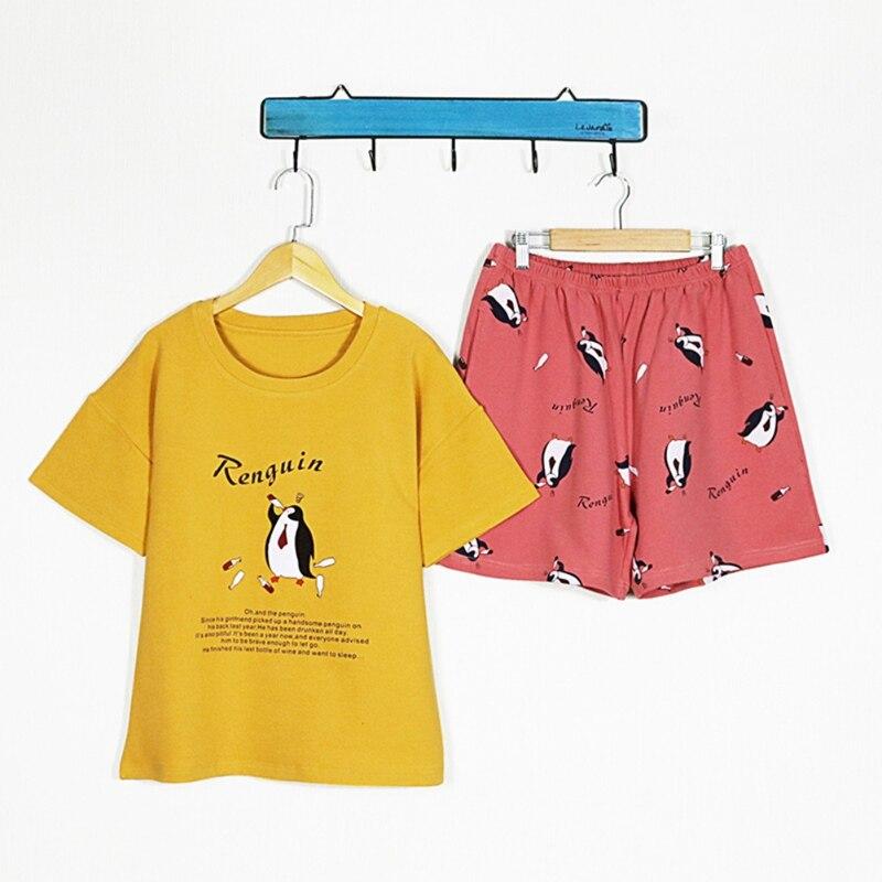 2019 Round Neck Short Sleeve Women Cartoon   Pajama     Set   Fruits Print Top Shorts   Pajama     Set