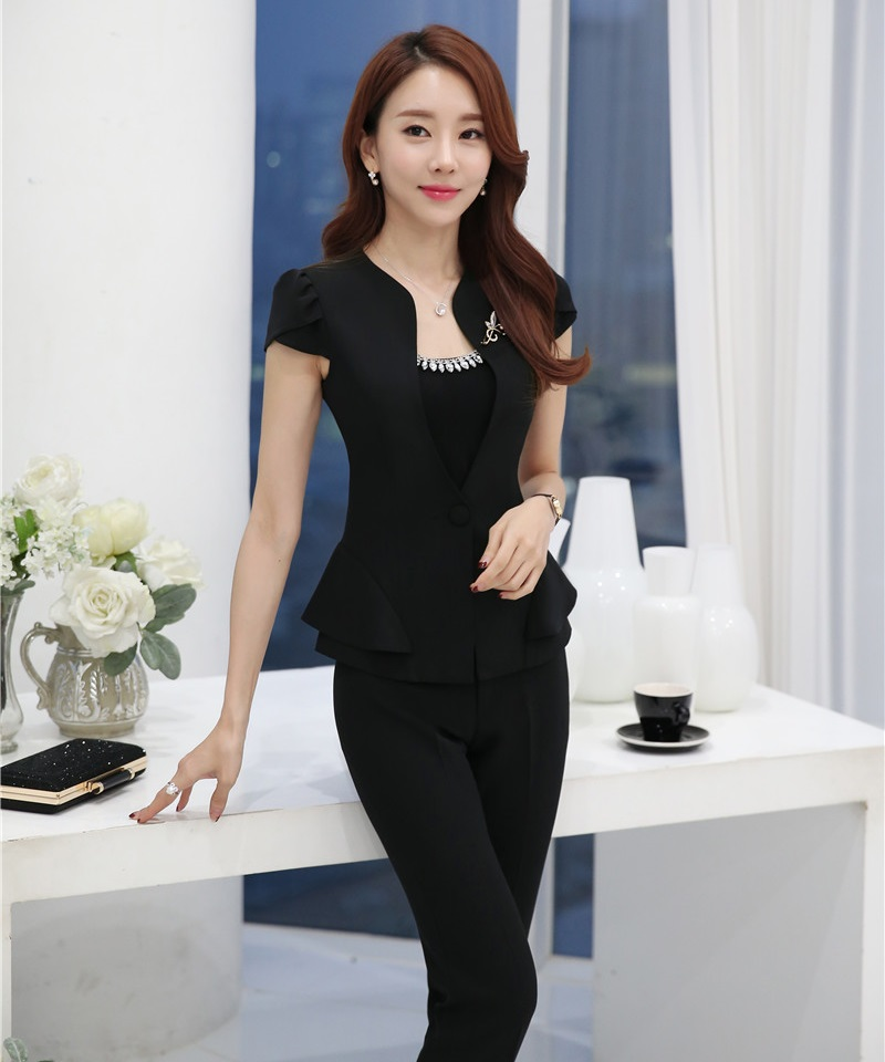 Novelty Black Professional Female Pantsuits Short Sleeve 2016 Summer Business Women Suits Jackets And Pants Trousers Sets