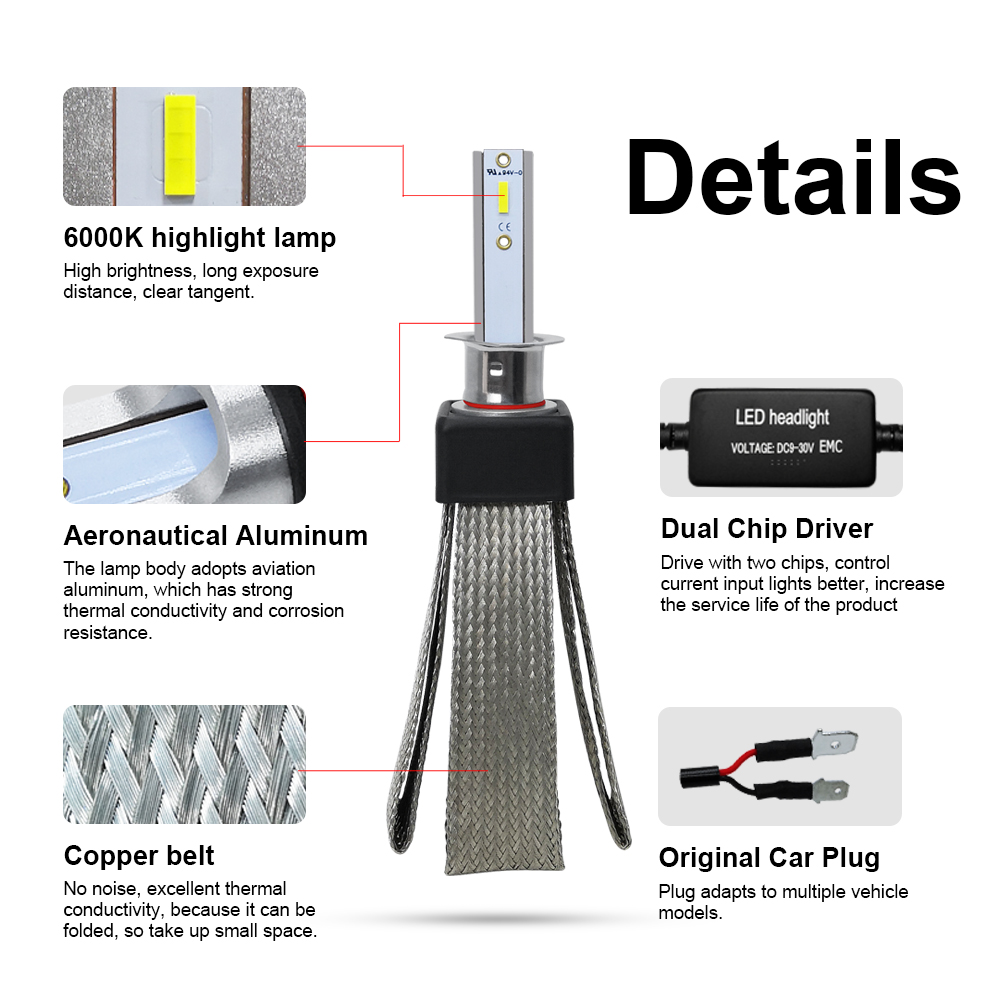 Image 2 - LSlight LED H7 H4 H1 9005 9006 H11 H3 880 9007 HB2 HB3 HB4 H27 LED Headlight 12V 60W 16000LM Auto Bulb Ampoule  Car Light Lamp-in Car Headlight Bulbs(LED) from Automobiles & Motorcycles