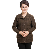 Elderly Woman Chunky Knitted Cardigan Sweaters Red Black Brown Knitwear Middle Aged Ladies Turn Down Collar
