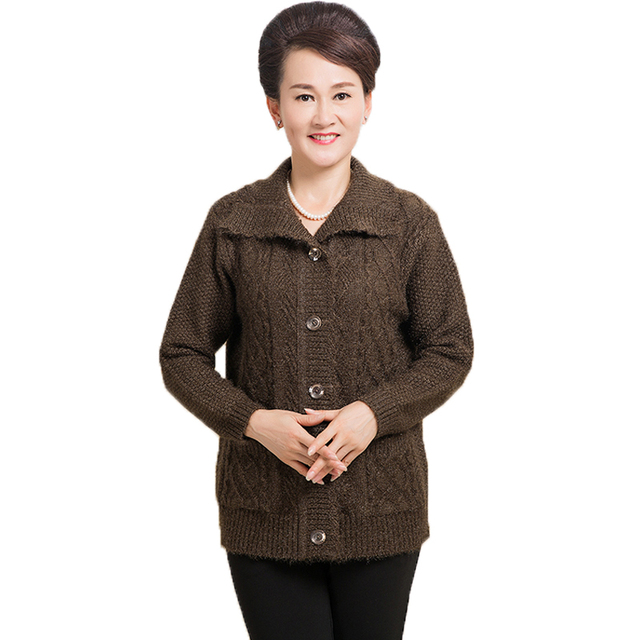 Elderly Woman Chunky Knitted Cardigan Sweaters Red Black Brown ...