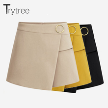 Trytree Summer shorts women Casual Polyester Solid Zipper Fly femme Short Fashion fashion Office lady 2018 Shorts