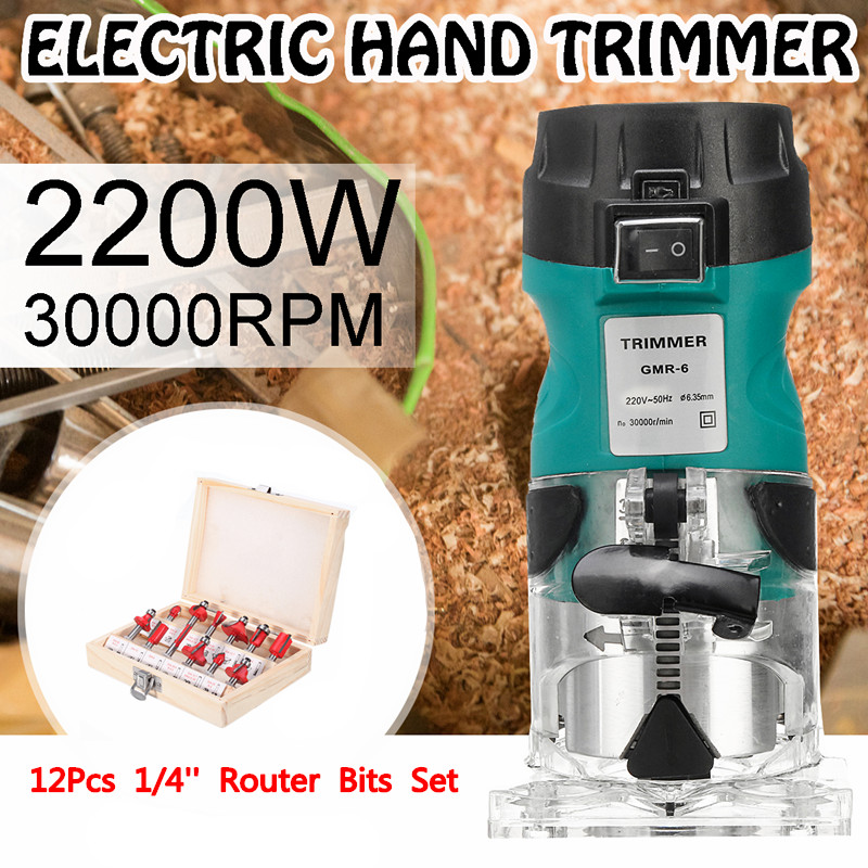 2200W Electric Hand Trimmer for Woodworking 1/4Router Wood Laminate Palms Router Joiners Carving Machine Power Tool+2xWrench2200W Electric Hand Trimmer for Woodworking 1/4Router Wood Laminate Palms Router Joiners Carving Machine Power Tool+2xWrench