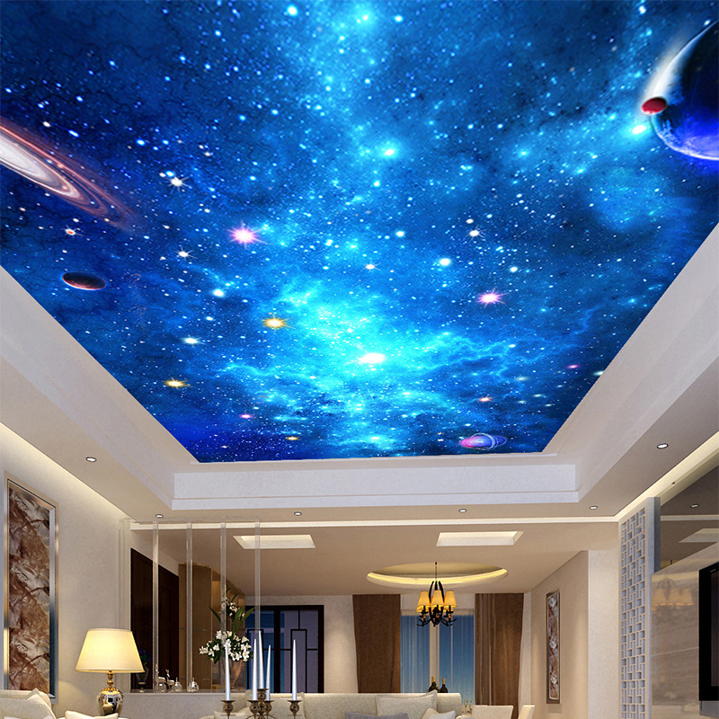 Customized 3d ceiling mural galaxy nebula photo wallpaper for Ceiling mural wallpaper