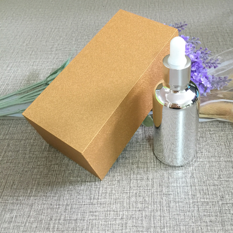 4pcs 50ml vacuum plating silver empty dropper bottle With wooden box,glass essential oil bottle, perfume subpackage jar free shipping 30 50ml 4pcs lot glass green essential oil bottle with dropper packing dilution bottle
