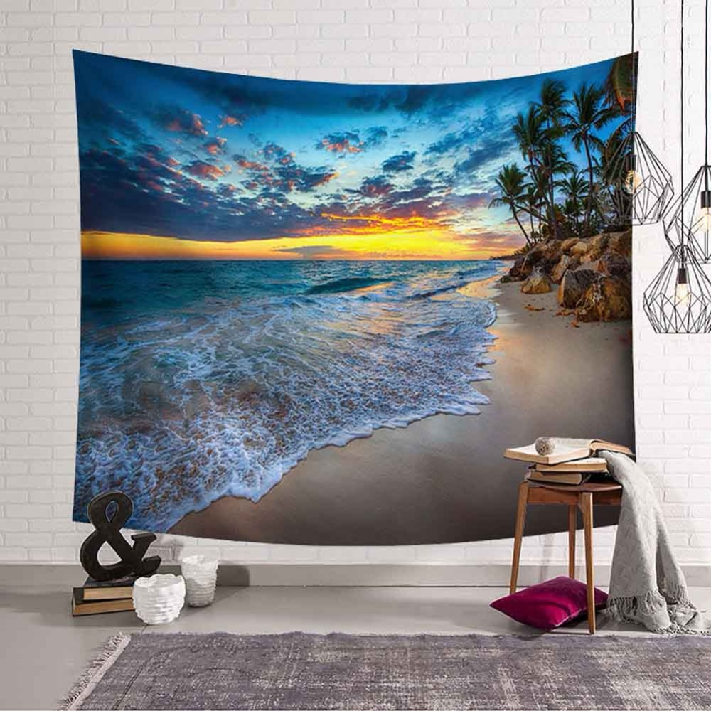 Tropical Palm Tree Leaves Tapestry Wall Hanging Seaside Sunset Landscape Tapestries Yoga Beach Towel Bohemian Decor for Home
