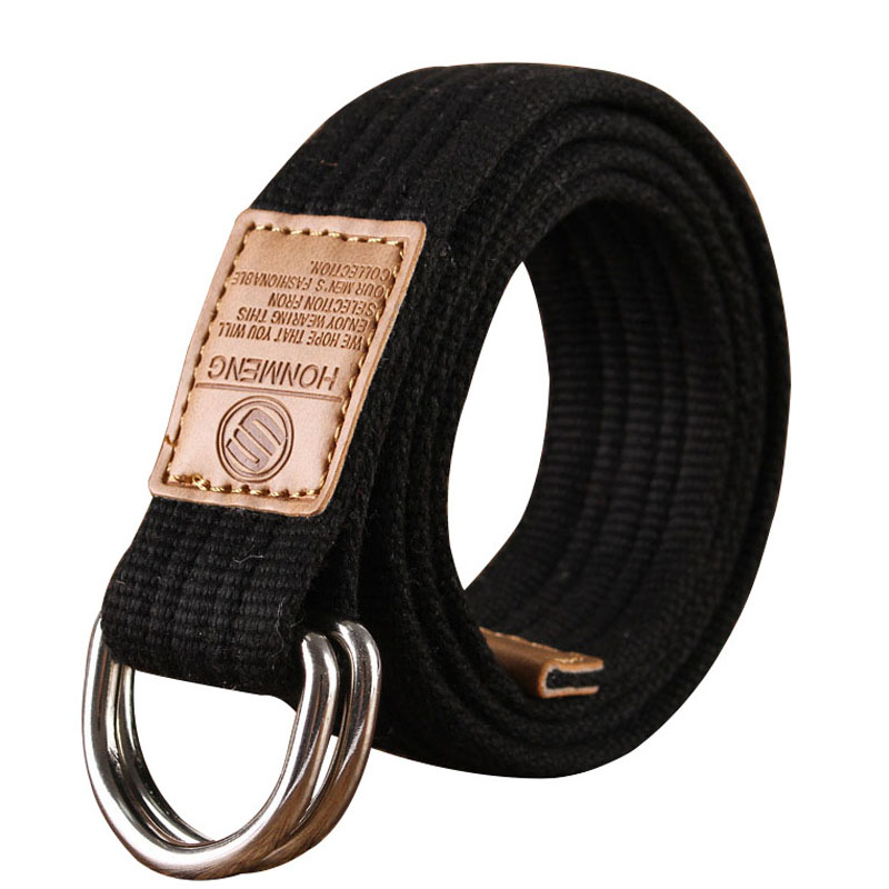 New Unisex Canvas Belt Double Ring Buckle Military Belt Army Belts Men Women's Casual Business Cowboy Pants Belt