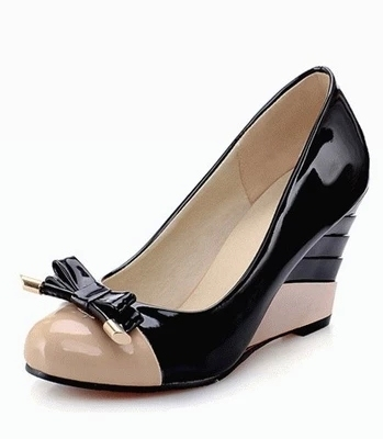 f1a24de448d New 2016 Fashion Color Block Patent Bow Wedge Shoes For Women Elegant  Ladies Office Wedges Shoes High Heels Women Pumps Sapatos