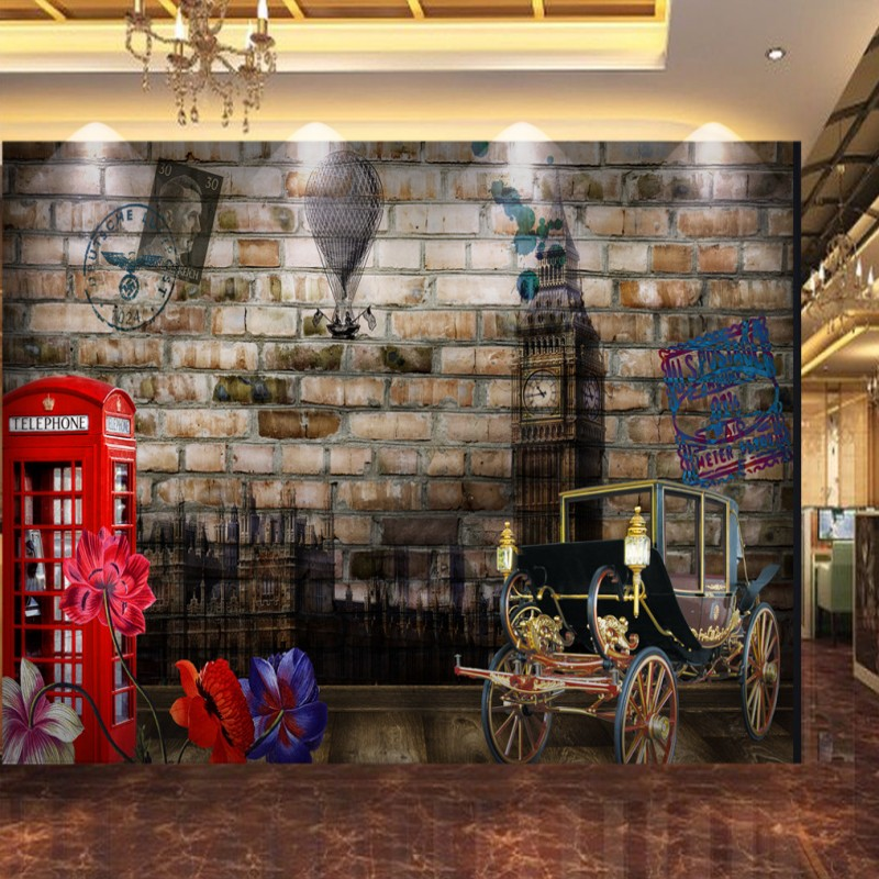 Custom photo wallpaper 3D stereo brick wall European American oil painting background wallpaper restaurant shopping mall mural free shipping 3d stereo entrance hallway custom wallpaper vertical version european oil painting wallpaper mural